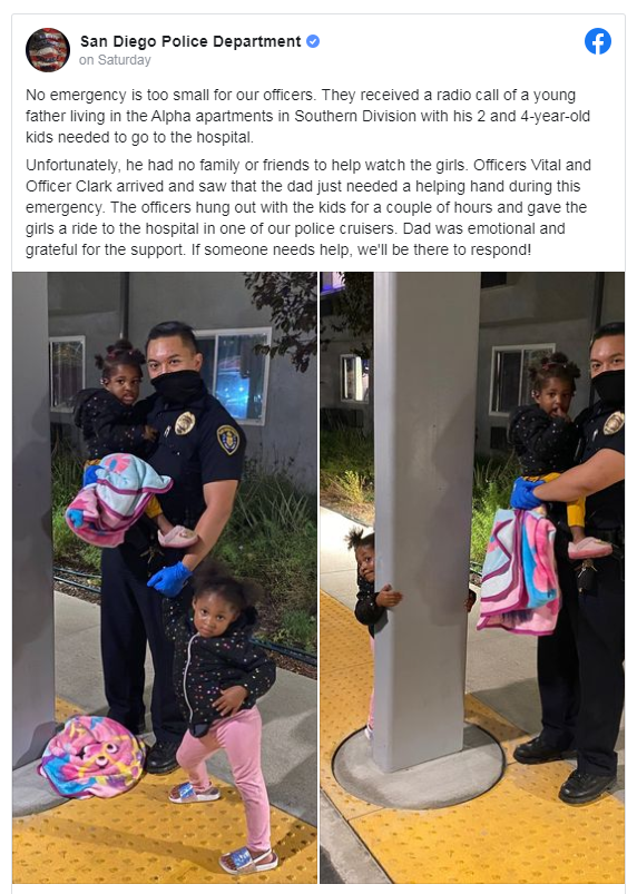 San Diego Police officers babysit after father hospitalized